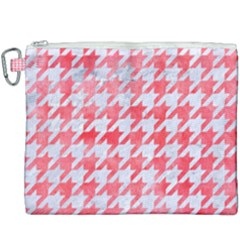 Houndstooth1 White Marble & Red Watercolor Canvas Cosmetic Bag (xxxl) by trendistuff
