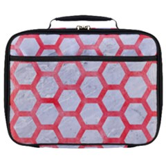 Hexagon2 White Marble & Red Watercolor (r) Full Print Lunch Bag by trendistuff
