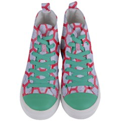 Hexagon2 White Marble & Red Watercolor (r) Women s Mid Top Canvas Sneakers
