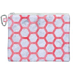 Hexagon2 White Marble & Red Watercolor (r) Canvas Cosmetic Bag (xxl) by trendistuff