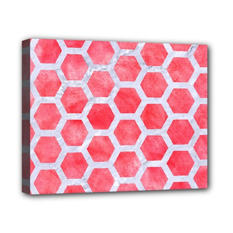 Hexagon2 White Marble & Red Watercolor Canvas 10  X 8  by trendistuff