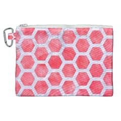 Hexagon2 White Marble & Red Watercolor Canvas Cosmetic Bag (xl)