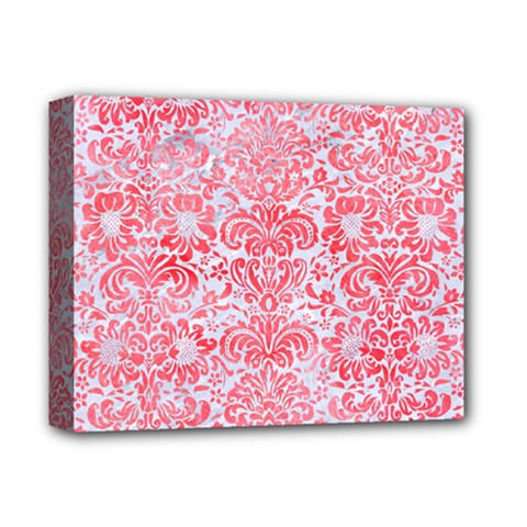 Damask2 White Marble & Red Watercolor (r) Deluxe Canvas 14  X 11  by trendistuff