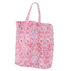 Damask2 White Marble & Red Watercolor Giant Grocery Zipper Tote by trendistuff