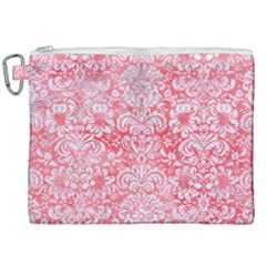 Damask2 White Marble & Red Watercolor Canvas Cosmetic Bag (xxl) by trendistuff