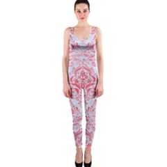 Damask1 White Marble & Red Watercolor (r) One Piece Catsuit by trendistuff