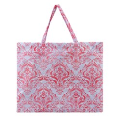 Damask1 White Marble & Red Watercolor (r) Zipper Large Tote Bag by trendistuff