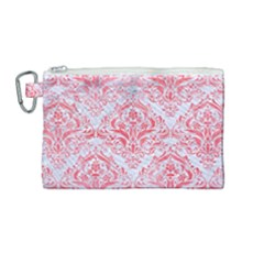 Damask1 White Marble & Red Watercolor (r) Canvas Cosmetic Bag (medium) by trendistuff