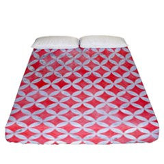 Circles3 White Marble & Red Watercolor Fitted Sheet (california King Size) by trendistuff