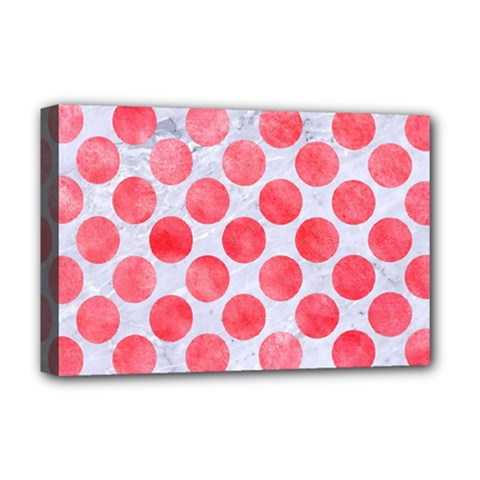 Circles2 White Marble & Red Watercolor (r) Deluxe Canvas 18  X 12   by trendistuff