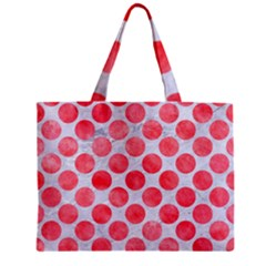Circles2 White Marble & Red Watercolor (r) Zipper Mini Tote Bag by trendistuff