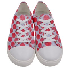 Circles2 White Marble & Red Watercolor (r) Women s Low Top Canvas Sneakers