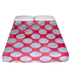 Circles2 White Marble & Red Watercolor Fitted Sheet (california King Size) by trendistuff