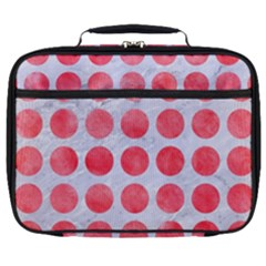 Circles1 White Marble & Red Watercolor (r) Full Print Lunch Bag by trendistuff