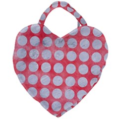 Circles1 White Marble & Red Watercolor Giant Heart Shaped Tote by trendistuff
