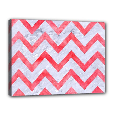 Chevron9 White Marble & Red Watercolor (r) Canvas 16  X 12  by trendistuff