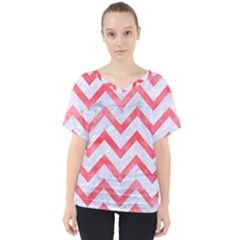 Chevron9 White Marble & Red Watercolor (r) V Neck Dolman Drape Top