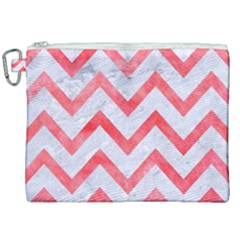 Chevron9 White Marble & Red Watercolor (r) Canvas Cosmetic Bag (xxl)