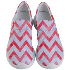 Chevron9 White Marble & Red Watercolor (r) Women s Lightweight Slip Ons