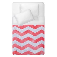 Chevron3 White Marble & Red Watercolor Duvet Cover (single Size) by trendistuff