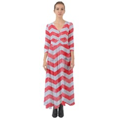 Chevron3 White Marble & Red Watercolor Button Up Boho Maxi Dress