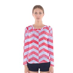 Chevron2 White Marble & Red Watercolor Women s Long Sleeve Tee