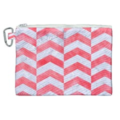 Chevron2 White Marble & Red Watercolor Canvas Cosmetic Bag (xl) by trendistuff