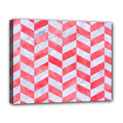 Chevron1 White Marble & Red Watercolor Canvas 14  X 11  by trendistuff