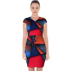 3d And Abstract Capsleeve Drawstring Dress