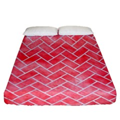 Brick2 White Marble & Red Watercolor Fitted Sheet (queen Size) by trendistuff