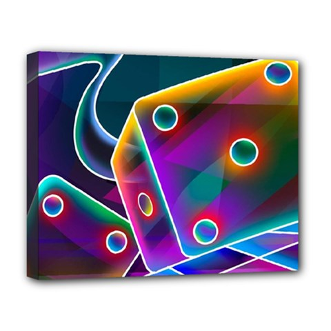 3d Cube Dice Neon Deluxe Canvas 20  X 16   by Sapixe