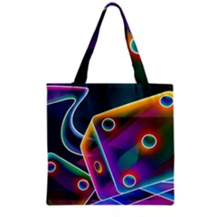 3d Cube Dice Neon Grocery Tote Bag by Sapixe