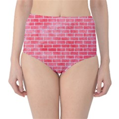 Brick1 White Marble & Red Watercolor High Waist Bikini Bottoms