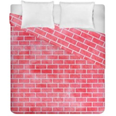 Brick1 White Marble & Red Watercolor Duvet Cover Double Side (california King Size) by trendistuff