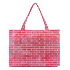 Brick1 White Marble & Red Watercolor Medium Tote Bag by trendistuff