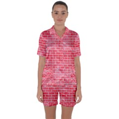 Brick1 White Marble & Red Watercolor Satin Short Sleeve Pyjamas Set