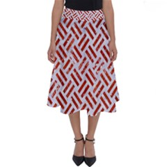 Woven2 White Marble & Red Marble (r) Perfect Length Midi Skirt