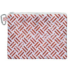 Woven2 White Marble & Red Marble (r) Canvas Cosmetic Bag (xxl) by trendistuff