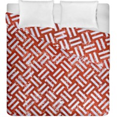 Woven2 White Marble & Red Marble Duvet Cover Double Side (king Size) by trendistuff