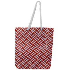 Woven2 White Marble & Red Marble Full Print Rope Handle Tote (large) by trendistuff