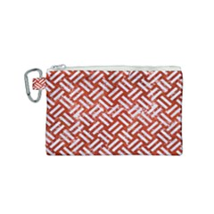 Woven2 White Marble & Red Marble Canvas Cosmetic Bag (small) by trendistuff
