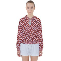 Woven2 White Marble & Red Marble Women s Tie Up Sweat