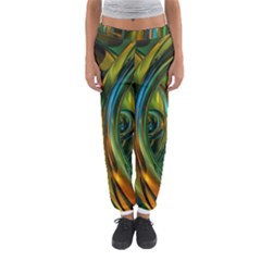 3d Transparent Glass Shapes Mixture Of Dark Yellow Green Glass Mixture Artistic Glassworks Women s Jogger Sweatpants by Sapixe