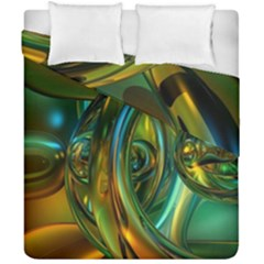 3d Transparent Glass Shapes Mixture Of Dark Yellow Green Glass Mixture Artistic Glassworks Duvet Cover Double Side (california King Size)