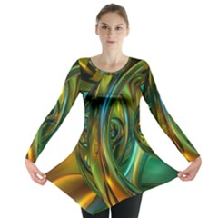3d Transparent Glass Shapes Mixture Of Dark Yellow Green Glass Mixture Artistic Glassworks Long Sleeve Tunic