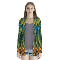 3d Transparent Glass Shapes Mixture Of Dark Yellow Green Glass Mixture Artistic Glassworks Drape Collar Cardigan by Sapixe