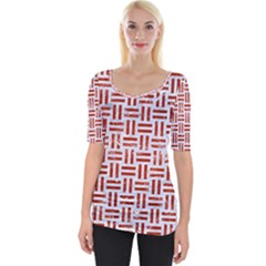 Woven1 White Marble & Red Marble (r) Wide Neckline Tee by trendistuff