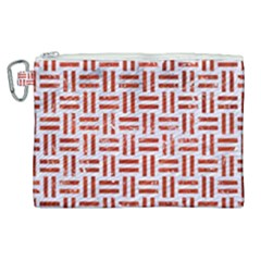 Woven1 White Marble & Red Marble (r) Canvas Cosmetic Bag (xl) by trendistuff