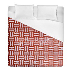 Woven1 White Marble & Red Marble Duvet Cover (full/ Double Size) by trendistuff