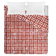 Woven1 White Marble & Red Marble Duvet Cover Double Side (queen Size) by trendistuff